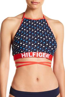Tommy Hilfiger High Neck Wrap Halter Bikini Top
