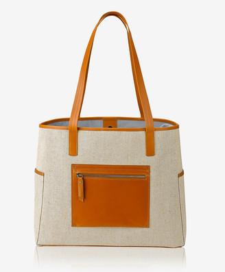 GiGi New York Monterey Tote, Italian Canvas & Tan Vachetta Leather