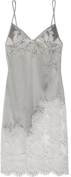 Agent ProvocateurAgent Provocateur - Nayeli Leavers Lace-paneled Silk-blend Satin Slip - Silver