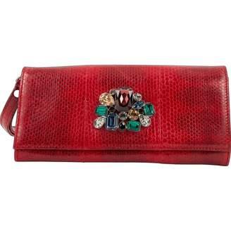 Roberto Cavalli Red Leather Clutch Bag