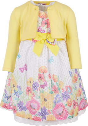 Blueberi Boulevard Little Girls 2-Pc. Cardigan & Floral-Print Dress Set
