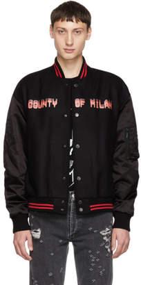 Marcelo Burlon County of Milan Black Never Sleep Bomber Jacket