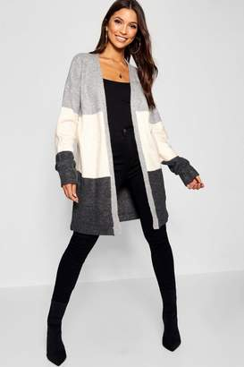 boohoo Oversized Cardigan With Stripe Detail