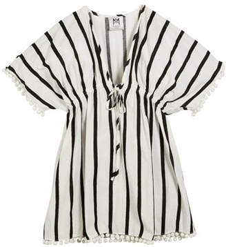 Milly Minis Stripe Embroidered V-Neck Swim Coverup, Size 4-6