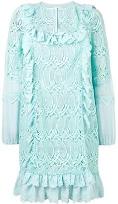 Giamba ruffle trim floral dress
