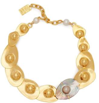 Lizzie Fortunato Clam Pearl & Gold Plated Necklace - Womens - Gold