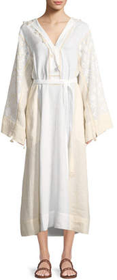 Vita Kin Hooded Bell-Sleeve Belted Embroidered Linen Dress