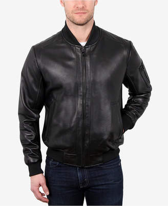 William Rast Men Leather Varsity Baseball Jacket