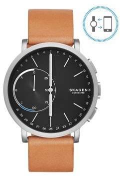 Skagen Hagen Connected Titanium Leather Strap Hybrid Smartwatch