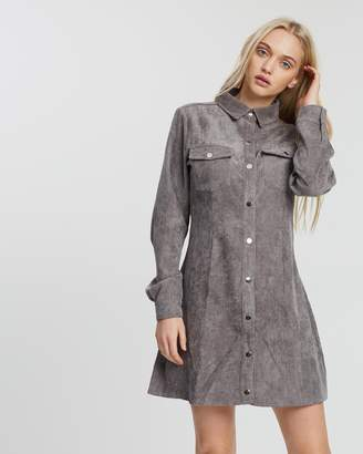 Missguided Cord Skater Shirt Dress