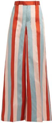 REDVALENTINO Striped wide-leg satin-gabardine trousers $395 thestylecure.com