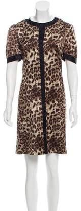 Miguelina Leopard Print Silk Dress