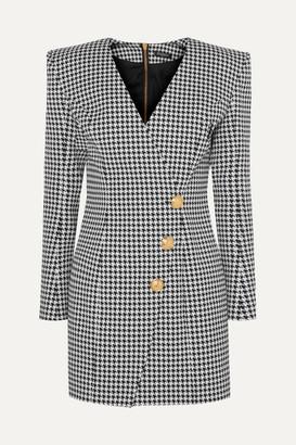 Balmain Wrap-effect Houndstooth Cotton-blend Jacquard Mini Dress - Gray