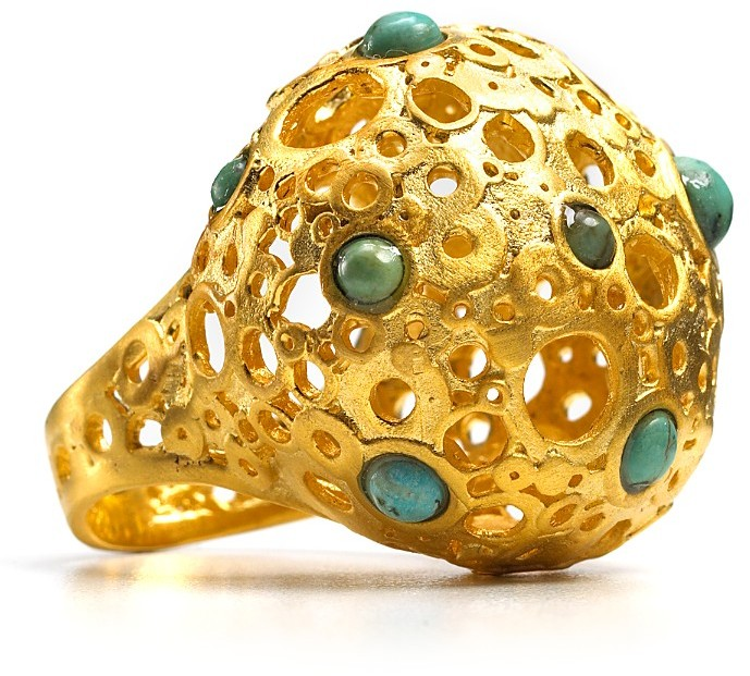 Alexis Bittar Gold African Turquoise Bubble