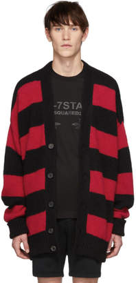 DSQUARED2 Black and Red Striped Cardigan