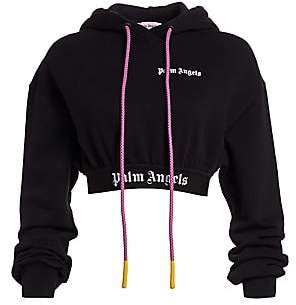 Palm Angels Women's New Basic Cropped Cotton Hoodie