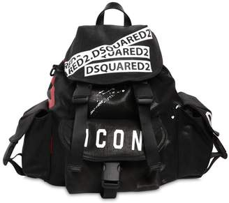 DSQUARED2 Icon Printed Waxed Denim Backpack