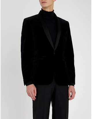The Kooples Slim-fit shawl-lapel velvet jacket
