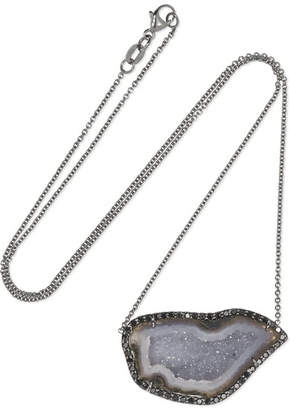 Kimberly McDonald - 18-karat Blackened White Gold, Geode And Diamond Necklace