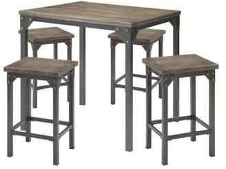Generic Percie 5-Piece Counter-Height Dining Set, Dark Antique Oak and Antique Black