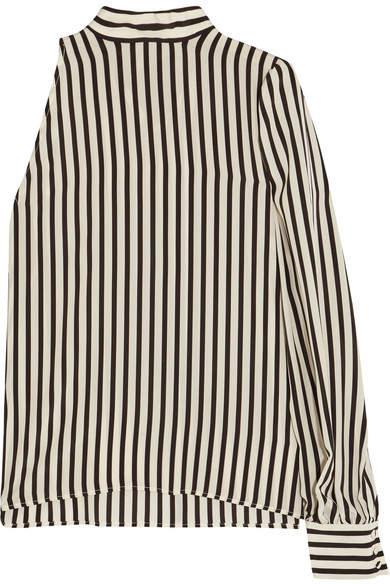 MSGM - One-shoulder Striped Silk Crepe De Chine Top - Off-white
