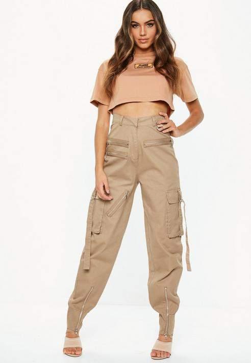 Fanny Lyckman X Camel Cargo Zip Utility Trousers, Camel