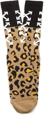 Off-White Arrow Leopard-Print Socks