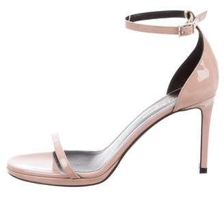 Saint Laurent Patent Leather Peep-Toe Sandals