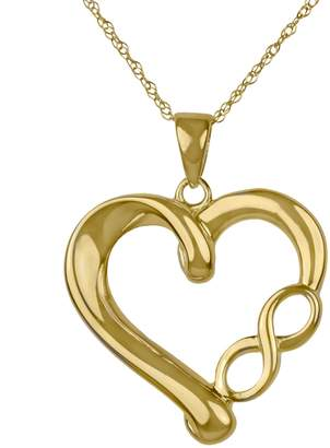 Fine Jewellery 14K Yellow Gold Infinity Symbol Heart Pendant Necklace
