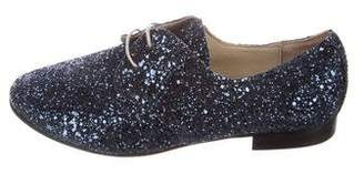 Anniel Glitter Round-Toe Oxfords