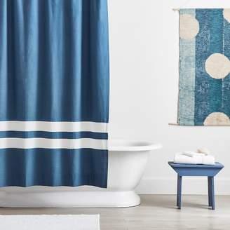 Pottery Barn Teen Harbor Stripe Shower Curtain, O/S, Blue/Tan