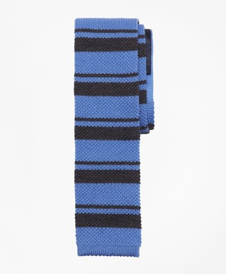Brooks Brothers Square End Horizontal Stripe Knit Tie