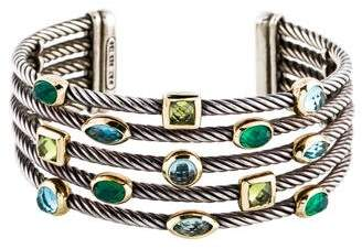 David Yurman Dyed Chalcedony, Topaz & Peridot Five Row Confetti Bracelet