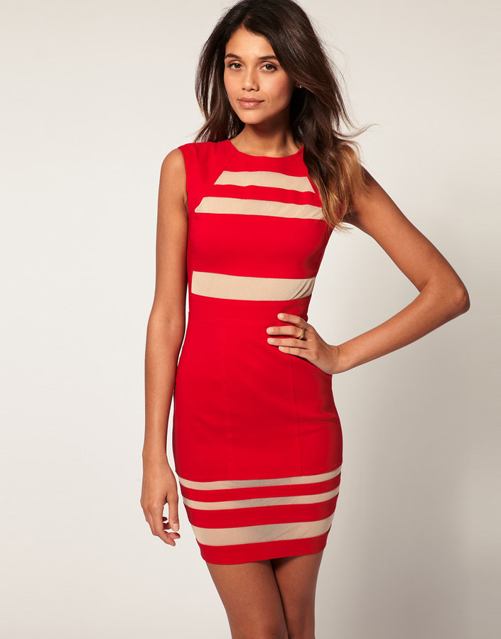 ASOS Mini Dress With Stripe Mesh