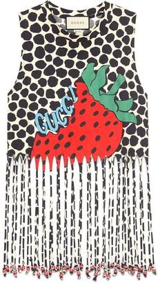 9c93e3122 Gucci Fringe tank with Strawberry print