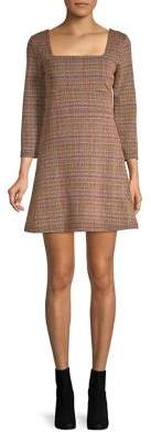 Free People Squareneck Herringbone Mini Flare Dress