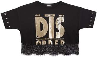 Diesel Dis Cotton Jersey & Lace Cropped T-Shirt