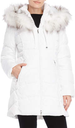 Laundry by Shelli Segal Faux Fur-Trimmed Longline Coat