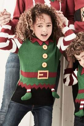 Next Boys Green Older Kids Christmas Elf Jumper (3-16yrs)