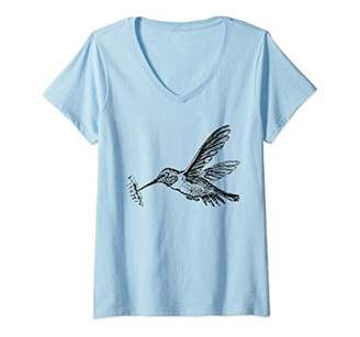 Womens Vintage Hummingbird Art Drawing Bird Lovers V-Neck T-Shirt