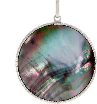 Mother of Pearl Italian Gold Round Mother-of-Pearl Pendant 14K White Gold