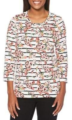 Rafaella Striped Floral Top