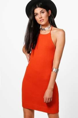 boohoo Alisha Knitted Halterneck Dress
