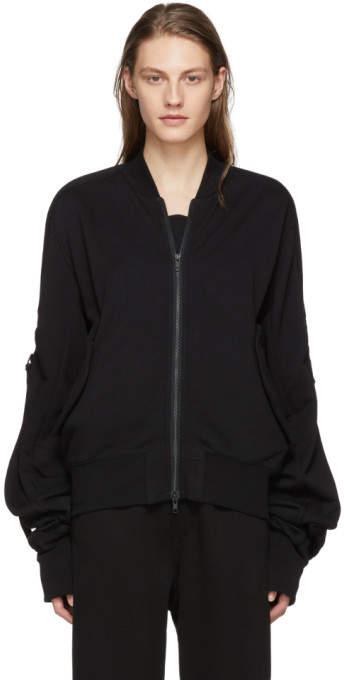 Black Tony Knit Bomber Jacket