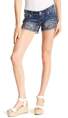 Grace In LA Denim Embroidered Floral Print Shorts