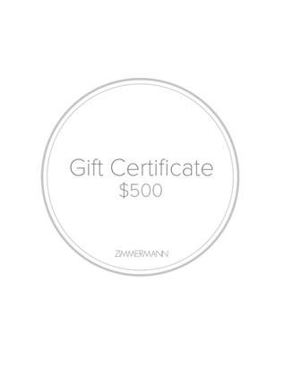 Zimmermann Gift Certificate $500