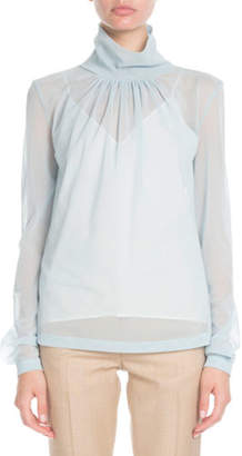 Victoria Beckham Gathered-Neck Long-Sleeve Sheer Top
