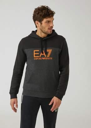 Emporio Armani Two-Tone Sweatshirt With Hood And Ea7 Logo
