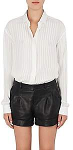 Saint Laurent Women's Striped Silk-Blend Georgette Blouse - Wht, Gld