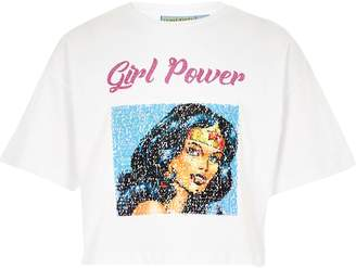 River Island Girls Wonder Woman White sequin T-shirt